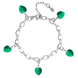 Emerald Bracelet with Crystal Hearts