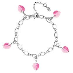 Rose Crystal Heart Charm Bracelet