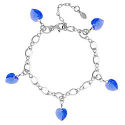 Sapphire Crystal Heart Charm Bracelet