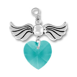 Sterling Silver Love Taking Flight with Zircon Crystal Heart