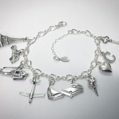 Sterling Silver Anastasia 50 Shades Inspired Charm Bracelet