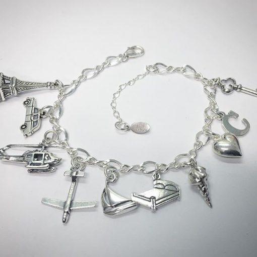 Sterling Silver Anastasia 50 Shades Inspired Charm Bracelet