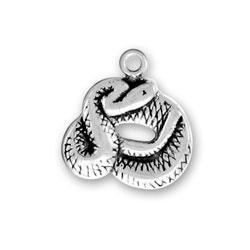 Sterling Silver Coiled Rattlesnake Charm