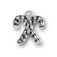 Sterling Silver Crossed Candy Canes Charm