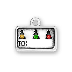 Sterling Silver Gift Tag with Crystals