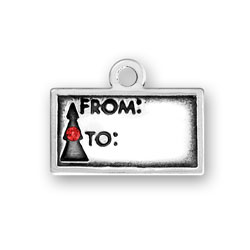 Sterling Silver Gift Tag with Red Crystal