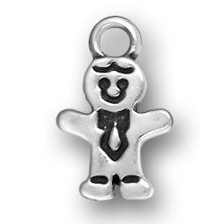 Sterling Silver Gingerbread Boy Charm