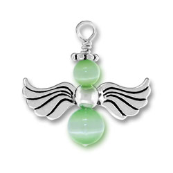Sterling Silver Green Angel Charm