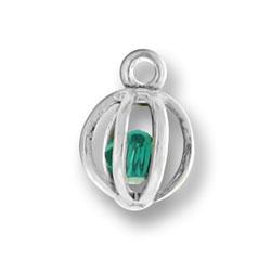 Sterling Silver Green Swarovski Crystal Cage