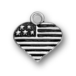 USA Citizens or anyone who loves America will be delighted to own and wear this Sterling Silver Heart Shaped American Flag Charm.