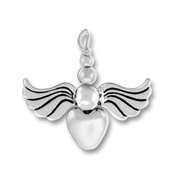 Sterling Silver Heart Silver Angel Charm