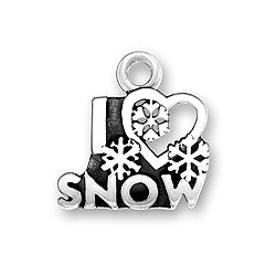 Sterling Silver I Heart Snow Charm