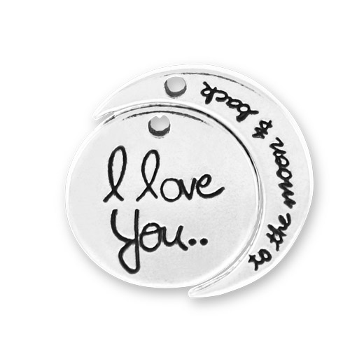 Sterling Silver I Love You to the Moon and Back Charm