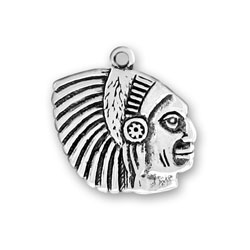 Sterling Silver Indian Head II Charm