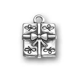 Sterling Silver Large Present Charm
