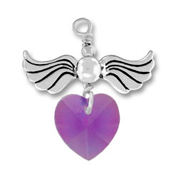 Sterling Silver Love Taking Flight with Amethyst Crystal Heart