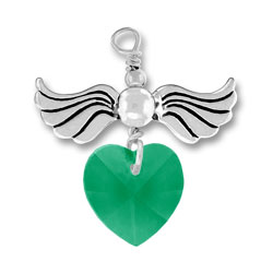 Sterling Silver Love Taking Flight with Emerald Crystal Heart