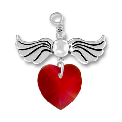 Sterling Silver Love Taking Flight with Garnet Crystal Heart