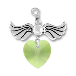 Sterling Silver Love Taking Flight with Peridot Crystal Heart