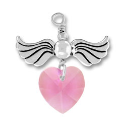 Sterling Silver Love Taking Flight with Rose Crystal Heart