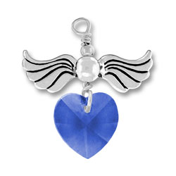Sterling Silver Love Taking Flight with Sapphire Crystal Heart