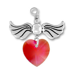 Sterling Silver Love Taking Flight with Siam Crystal Heart