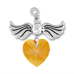 Sterling Silver Love Taking Flight with Topaz Crystal Heart