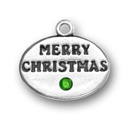 Sterling Silver Merry Christmas with Green Crystal