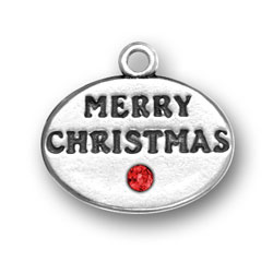 Sterling Silver Merry Christmas with Red Crystal