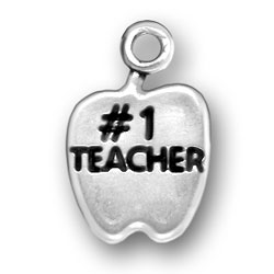 Sterling Silver Number One Teacher Apple Charm