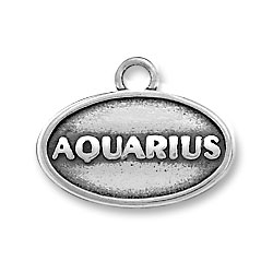 Sterling Silver Oval Aquarius Charm