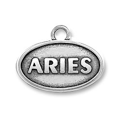 Sterling Silver Oval Aries Charm