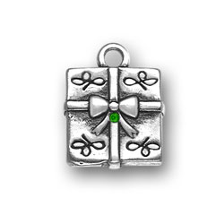 Sterling Silver Present with Green Crystal
