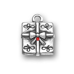 Sterling Silver Present with Red Crystal