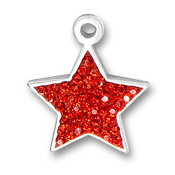 Sterling Silver Red Star Charm