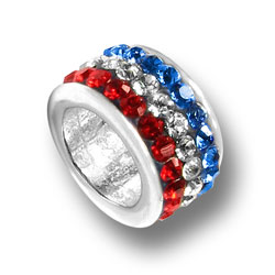 Sterling Silver Red White and Blue Crystal Bead
