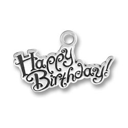Sterling Silver Small Happy Birthday Charm