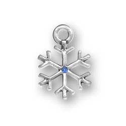 Sterling Silver Snowflake with Blue Crystal