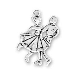 Sterling Silver Square Dancers Charm