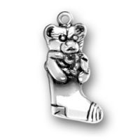 Sterling Silver Stocking with Teddy Bear Charm