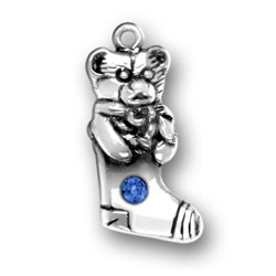 Sterling Silver Teddy Bear Stocking with Blue Crystal
