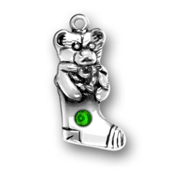 Sterling Silver Teddy Bear Stocking with Green Crystal