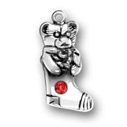 Sterling Silver Teddy Bear Stocking with Red Crystal