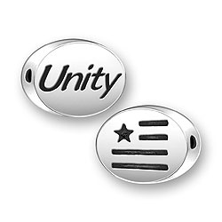 Sterling Silver Unity Message Bead with Flag