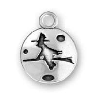 Sterling Silver Witch on Broom Charm