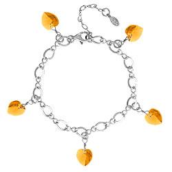 Topaz Crystal Heart Charm Bracelet