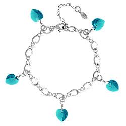 Zircon Crystal Heart Charm Bracelet