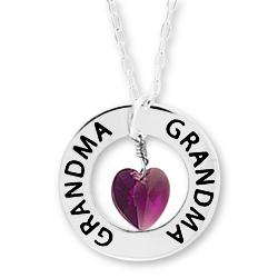 Grandma Affirmation Birthstone: Custom Name Necklace