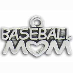 Pewter Sports Baseball Mom Charm