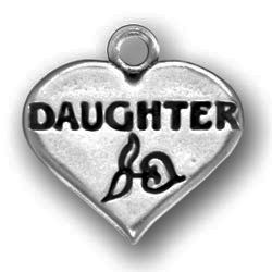 Daughter on Heart Charm: Pewter Baby Charm